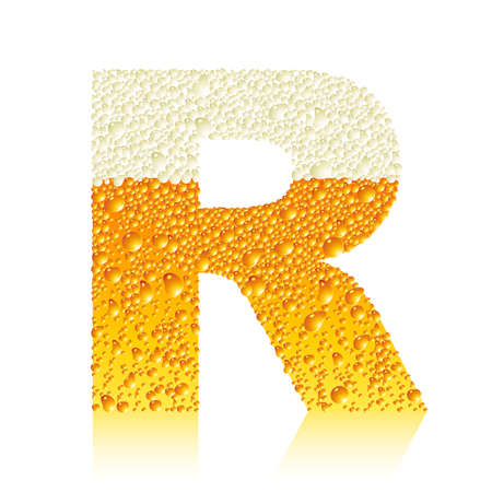 water liquid letter: alphabet beer R