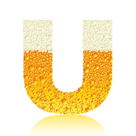 condensation on glass: alphabet beer U Illustration