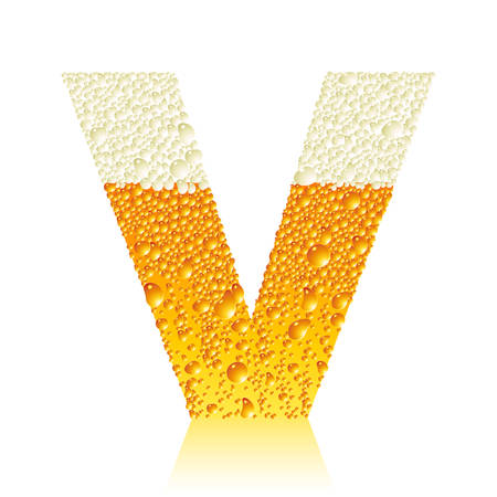 water liquid letter: alphabet beer V