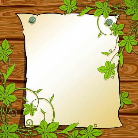 pancarte bois: arri�re-plan floral  Illustration