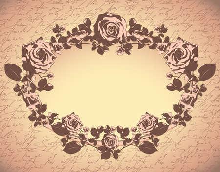 old victorian letter: floral background
