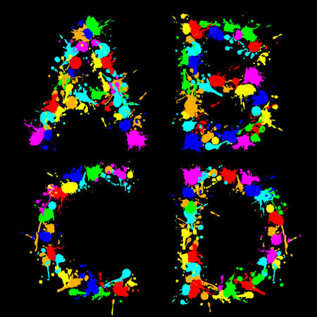 alphabet color drop ABCD Vector