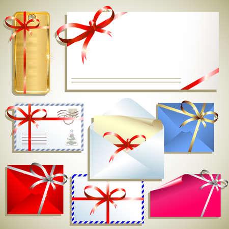 envelope decoration: etiquetas con arco  Vectores