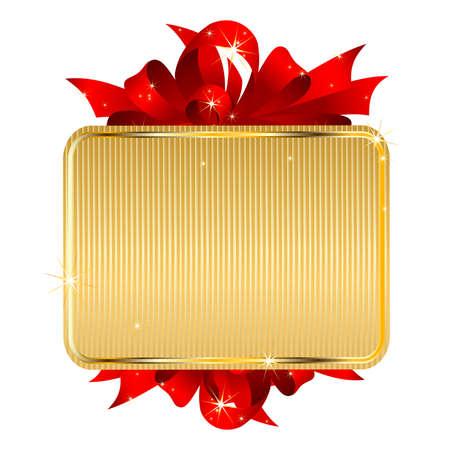 Gouden tag met boog Vector Illustratie