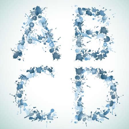 alphabet water drop ABCD Vector