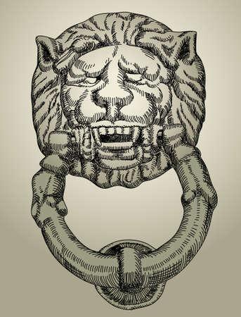 knocker: lion Illustration