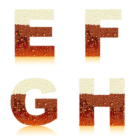 condensation: alphabet dark beer EFGH Illustration