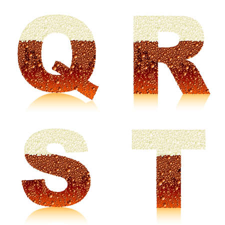 alphabet dark beer QRST Vector