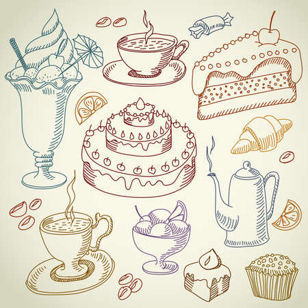 croissants: coffee and desserts Illustration