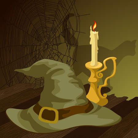 wood spider: halloween background