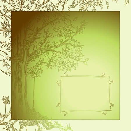 ancient bird: background with tree Illustration