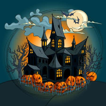 boom halloween: Halloween achtergrond Stock Illustratie