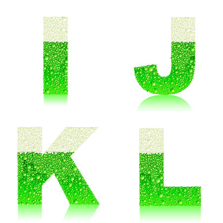 alphabet green beer IJKL Vector