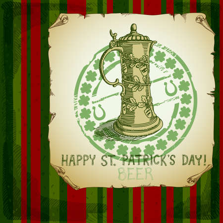 four leafed clover: Happy St Patricks Day background Illustration
