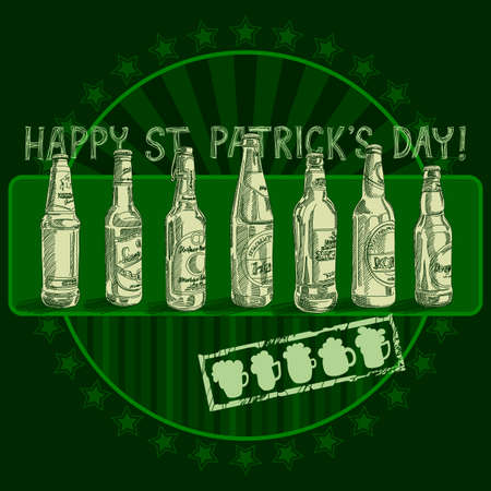 three leafed: Happy St Patricks Day background Illustration