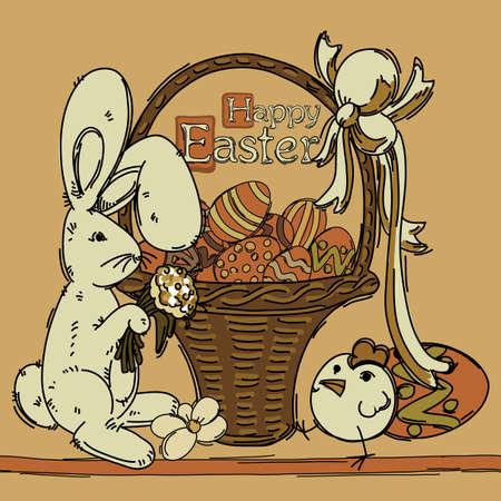 brown hare: Easter background Illustration