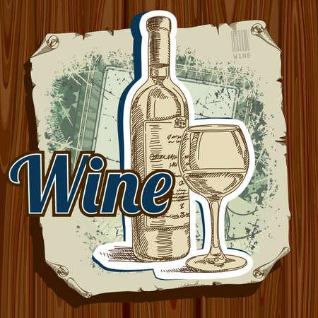 wine  shabby: retro label