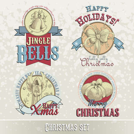 merriment: set of Christmas emblems and designs