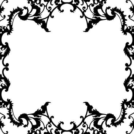 ornamentation: white background with filigree ornamentation along the edges