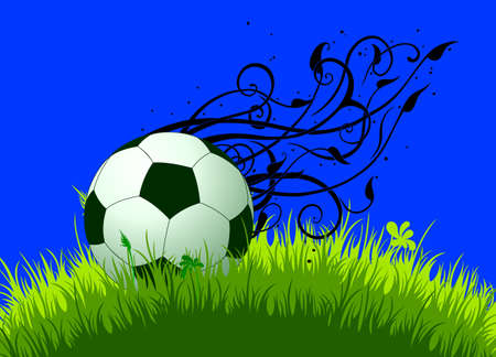 vegetal: green and white football ball on the grass, decorated with vegetal elements