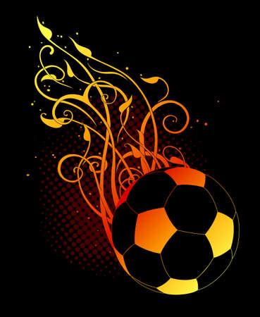 vegetative: football ball, decorated with vegetative elements on a black background