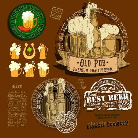 tankard: set of different beer elements for your design Illustration