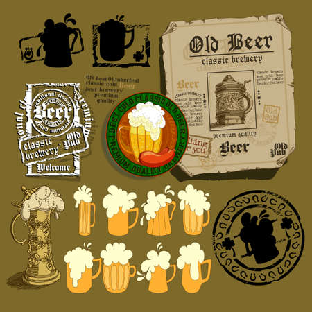 set of different beer elements for your design Illustration