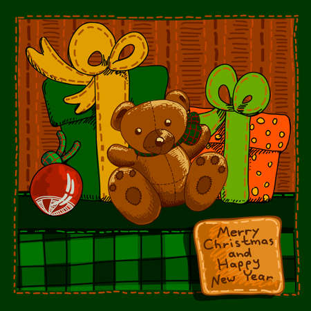 christmas gifts: Design a Christmas card with gifts and greetings