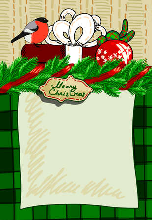 merriment: Design a Christmas card with gifts and greetings