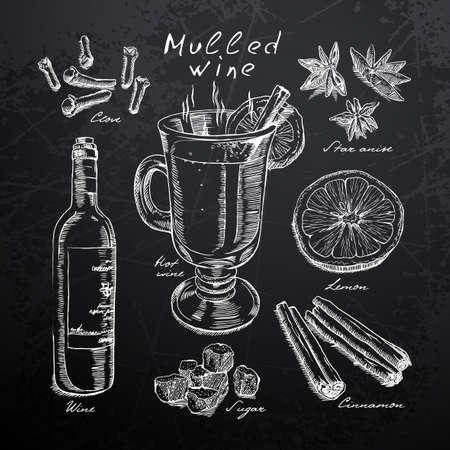 Wein, Glühwein und Gewürzen in Kreide auf eine Tafel gezeichnet