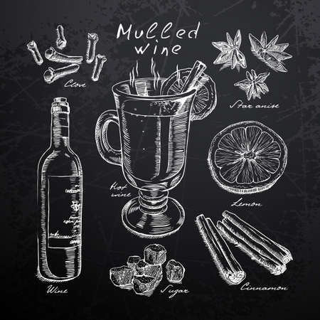 cappuccino: wine, mulled wine and spices drawn in chalk on a blackboard Illustration