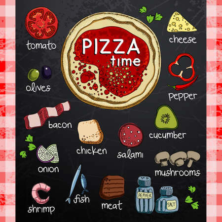 pizza ingredients: Pizza and ingredients for cooking