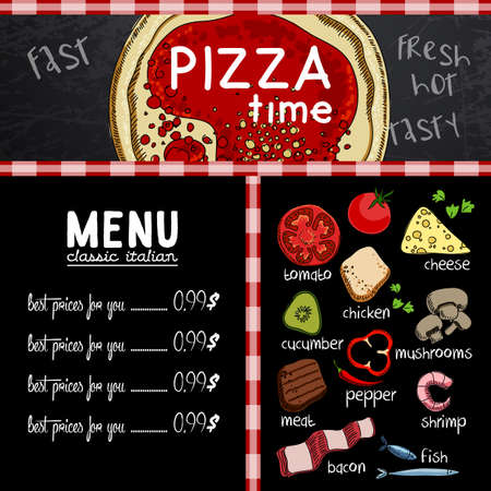 industry pattern: Sample menu design in the pizzeria, freehand drawing Illustration