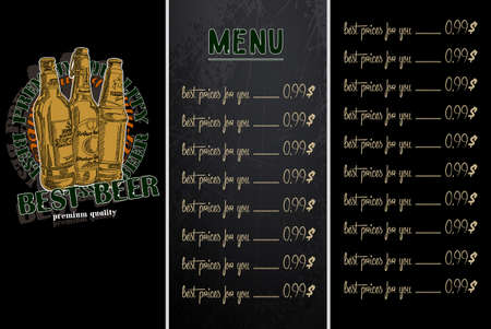 brasserie: Sample menu design in the brasserie, freehand drawing
