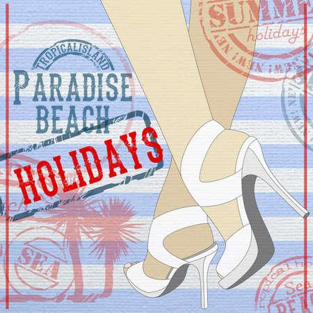 Anuncio vacaciones de verano en las islas tropicales con piernas de mujer con sandalias Foto de archivo - 57158917