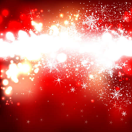 red shiny background with snowflakes for Christmas and New Year