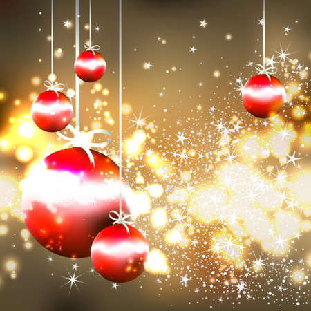 merriment: shiny gold background with red Christmas balls Illustration