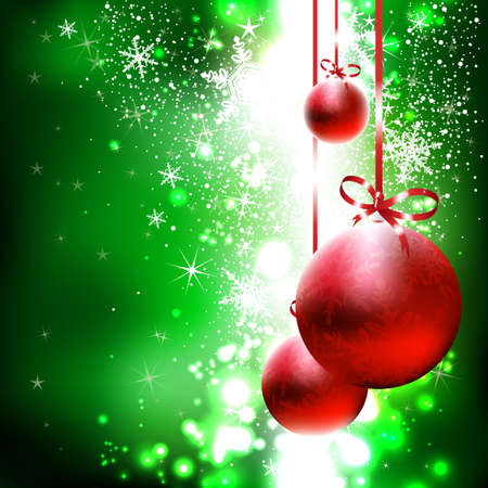 Green shiny background with red Christmas balls Illustration