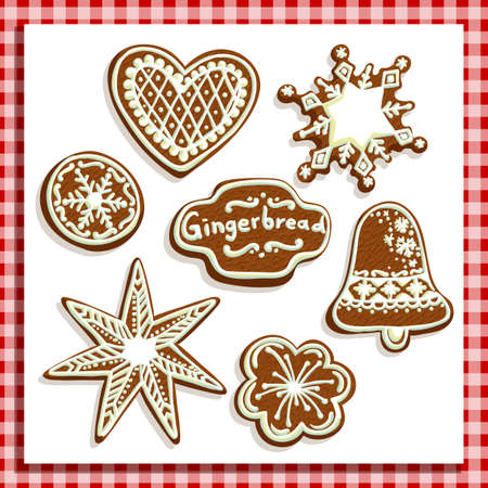 merriment: Christmas gingerbread cookies of various shapes in a checkered frame