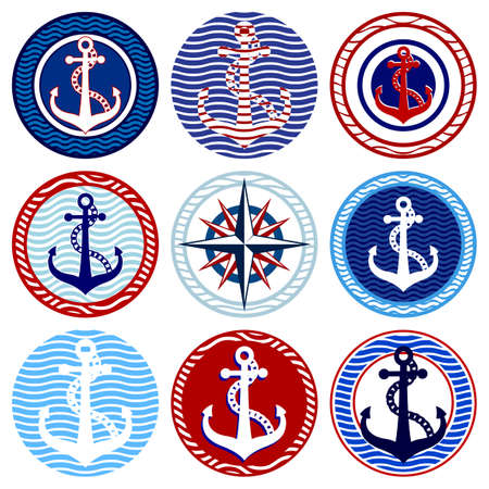 compass rose: Nine round elements with anchors and a wind rose Illustration