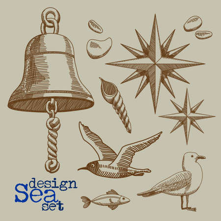 set of marine elements - the ships bell, Roza Vetrov, sea gulls, freehand drawing