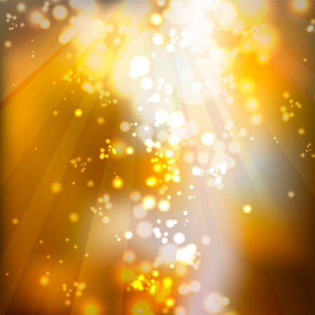 Golden abstract decorative background with bright highlights. Illustration
