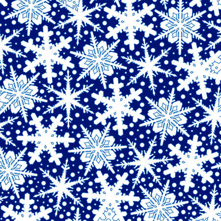 Winter blue background with white snowflakes. Illustration