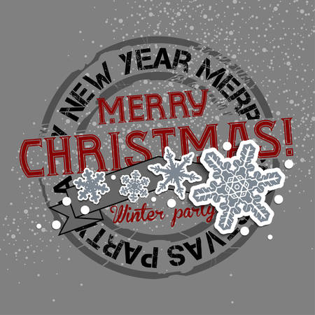 Christmas and New Years background with greeting stamp on the gray background