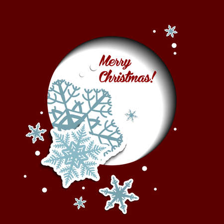Christmas greeting card with snowflakes on the red background.