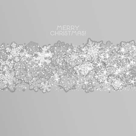 Merry Christmas background.  Garland of carved snowflakes on a light background