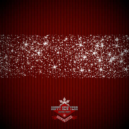 The design of the invitation to the New Years party. Strip of snowflakes and stars on a red striped background and the inscription.