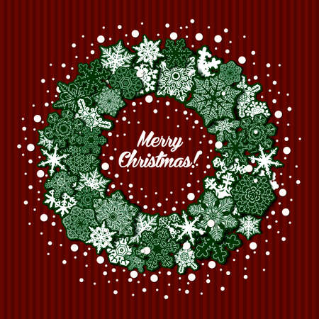Greeting Christmas card with a wreath of green snowflakes on the red striped background.