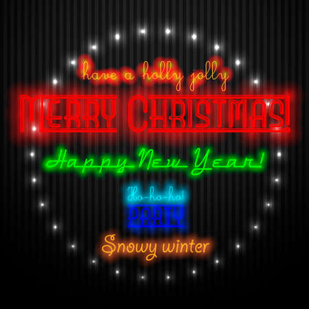 Merry Christmas and Happy New Year greeting design. Glowing greeting lettering on a black background. Poster, banner, postcard.