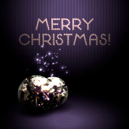 Christmas background with shiny volumetric balls on a violet background. Congratulations on Christmas. Ilustrace